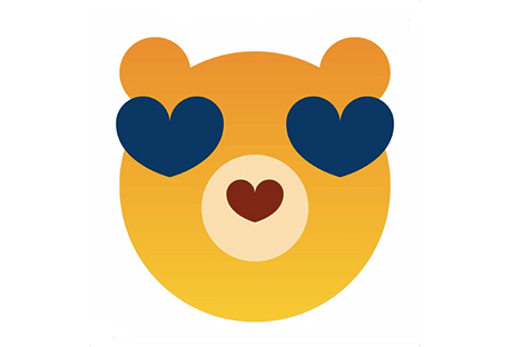 Cal Bear emoji sticker with yellow face and ears and blue heart-shaped eyes