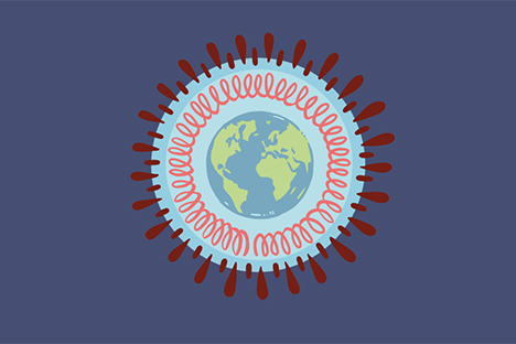 Graphic illustration of Coronavirus with a globe in the center