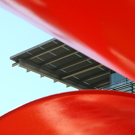 Red sculpture at the Li Ka Shing Center. Photo by Keegan Houser.