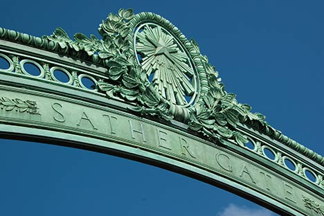 close up of Sather Gate