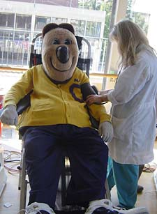 Oski donating blood