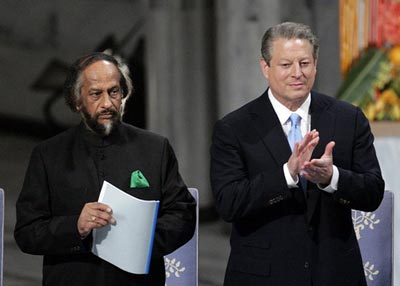 Al Gore and Rajendra Pachauri awarded the Nobel Peace Prize for 2007