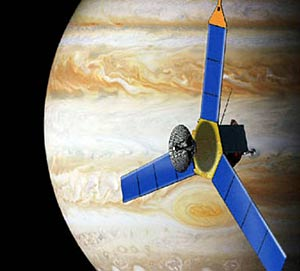 Artist's conception of Juno mission to Jupiter.