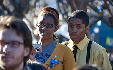 African American students watch Obama's speech