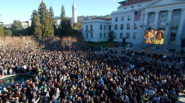 Crowd on Sproul watching inauguration