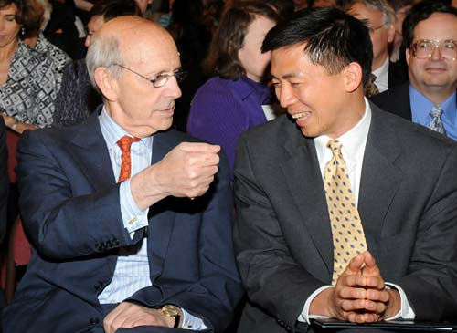 Justice Breyer with law professor Goodwin Liu