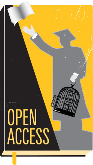 "Image of a book with a scholar n a yellow background holding an open birdcage and a flying book, labeled ""Open Access"""