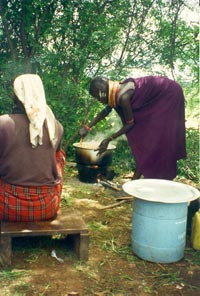 Kenyan woman cooking