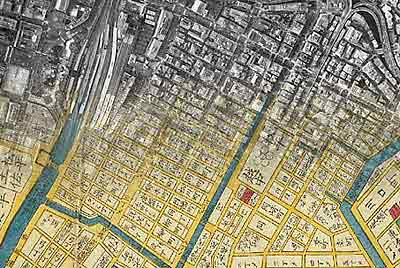 Tokyo map blends historic cartography, modern satellite photo