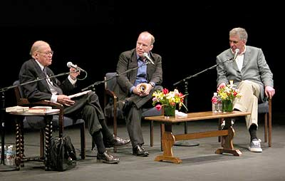 Robert McNamara, Prof. Mark Danner, and Errol Morris at Berkeley, image: berkeley.edu