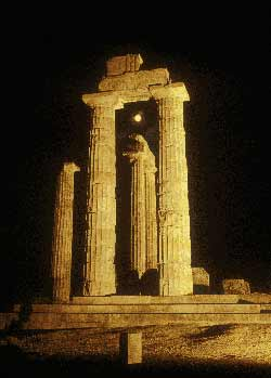 Temple of Zeus at night