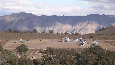 Radio telescopes awaiting erection at Cedar Flat site