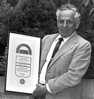 Donald Noyce after being awarded the Berkeley Citation in 1986