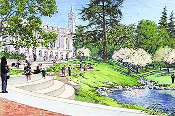 An Artistu0027s Conception Of Wheeler Glade, Which Would Open Up The Area  Upstream From Sather Gate, With Seat Walls Sloping Down To Strawberry Creek.