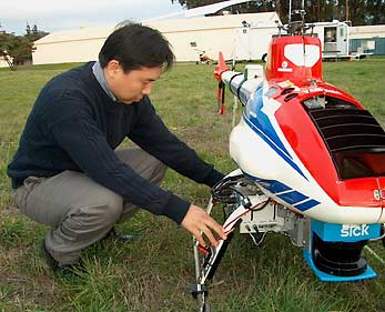 David Shim inspects copter