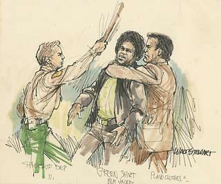 Courtroom sketch of Soledad trial fight