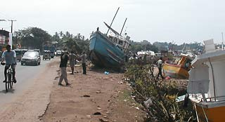 Storm-tossed boats in Sri Lanka