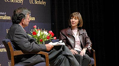 Lowell Bergman and Judith Miller on stage at Wheeler Hall
