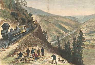 Chinese workers near railroad train