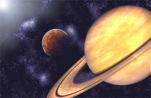 Artist's rendition of the Upsilon Andromedae planetary system