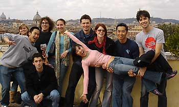 UC students pose on Roman rooftop