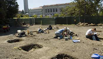 Students at dig site