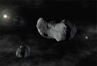 Artist's conception of Sylvia 87 and its moons