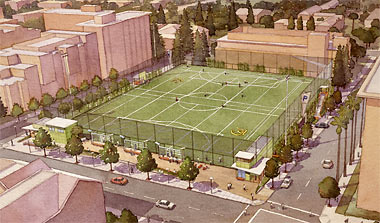 Artist's sketch of new Underhill parking and recreation structure