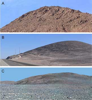 Hills in Chile and on Mars