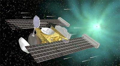 Stardust spacecraft collecting comet dust