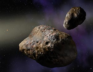 Artist's rendering of the binary asteroids Patroclus and Menoetius