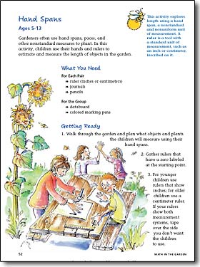 Exercise page from Math in the Garden book