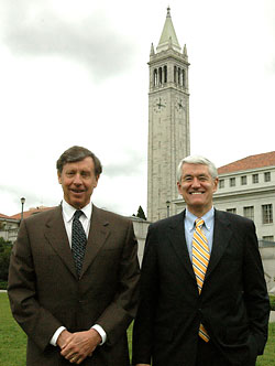 Richard Blum and Chancellor Birgeneau, with the Campanile in the background