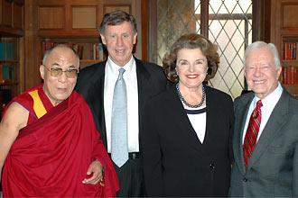 Dalai Lama, Richard Blum, Dianne Feinstein and Jimmy Carter