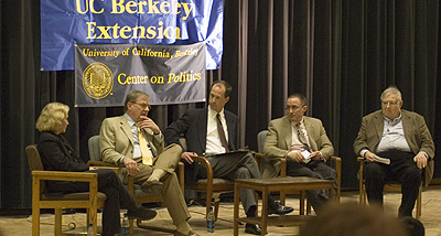 Panelists Janet Hook, Michael Barone, Ethan Rarick (moderator), Michael Kinsley, and Nelson Polsby.