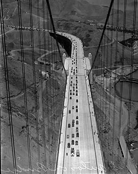 First cars cross the Golden Gate Bridge in 1937