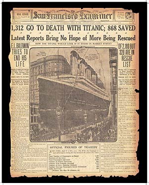 SF Examiner front page on Titanic disaster
