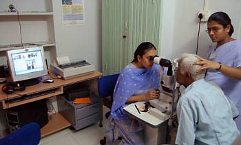 Patient undergoes eye exam