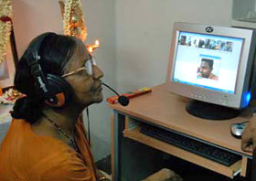 Patient taking part in teleconference