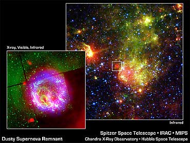 Space telescope images of dusty supernova remnant
