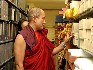 Khyentse Rinpoche with Buddhist Studies materials