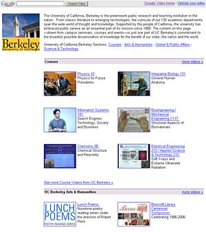 UC Berkeley's Google Video web page