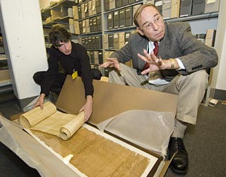 unpackying papyri at the Bancroft Library