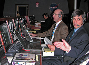 Berkeley scientists in mission operations room