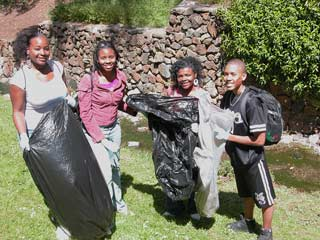 Students gather trash along creek