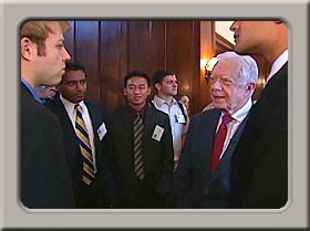 Jimmy Carter talking with students