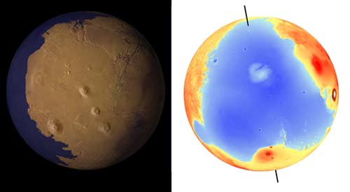 A view of Mars as it might have appeared more than 2 billion years ago, with a low-latitude ocean filling the lowland basin that now occupies the north polar region.