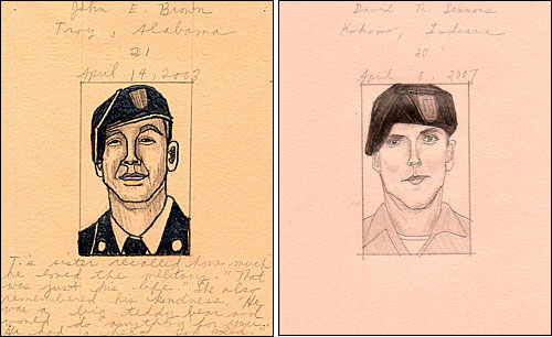portraits of soldiers John E. Brown and David N. Simmons
