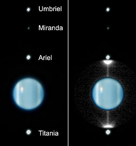 the rings of Uranus a mere two hours after Earth had crossed to the lit side of the ring plan