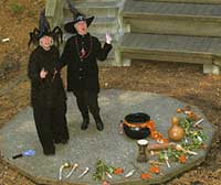"Jean Ellisen and Bobbie Kinkead dressed as witches for ""Spooky Stories in the Redwood Grove"""